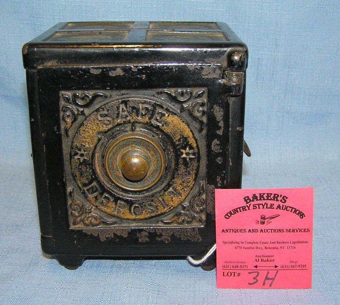Antique cast iron safe deposit bank