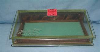 Antique Moore's pens and pencils display case