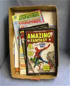 Box full of vintage superhero comic books
