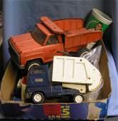 Box full of vintage Tonka toys and trucks