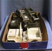 Box full of vintage Tonka toy jeeps