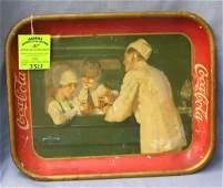 Antique Coca Cola advertising tray circa extremely