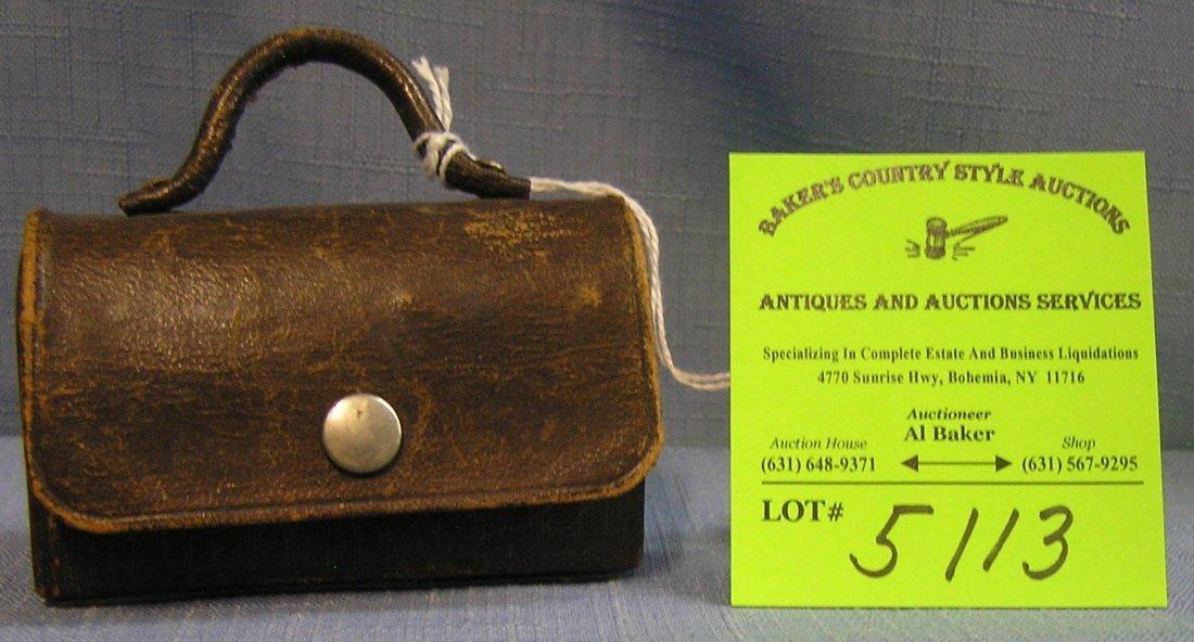 Antique leather doctors bag salesman sample