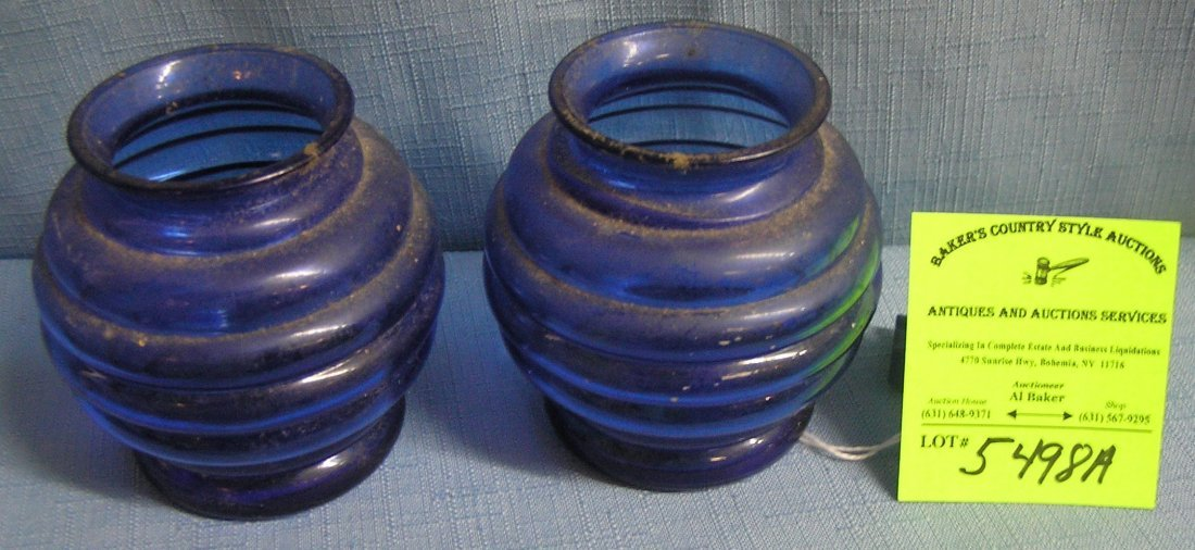 Pair of American made blue depression glass vases
