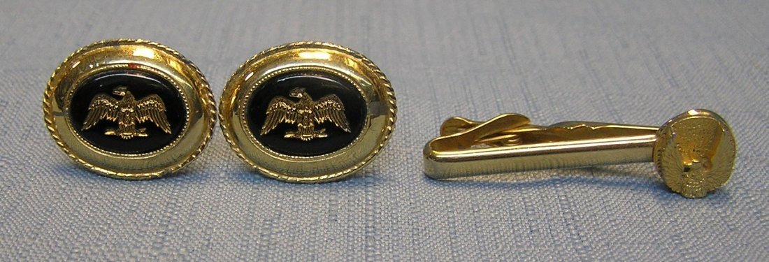 Set of vintage Swank cuff links and tie bar