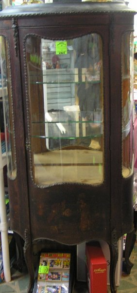 Beautiful Antique French Curved Glass China Cabinet
