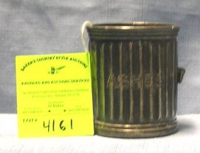 Antique Silver Plated Trash Can Shaped Ash Bucket