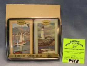 Two Vintage Decks Of Lighthouse And Nautical Themed