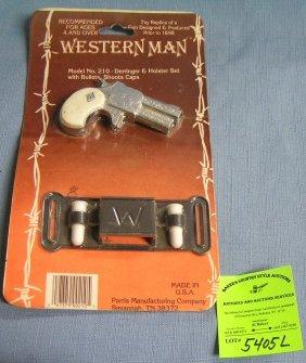 Western Man Derringer Cap Gun And Holster Set Mint On