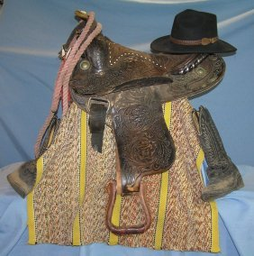 Vintage Leather Western Saddle And Accessories