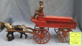 Early Cast Iron Horse Drawn Wagon By Kenton Toys