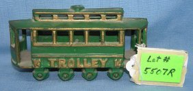 Cast Iron Hand Painted Trolley Car