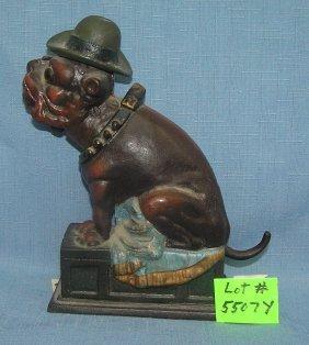 """old Puffer"" Cigar Smolking Bull Dog Mechanical Bank"