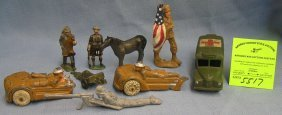 Vintage Toy Soldiers, Vehicles And Civilian Figures
