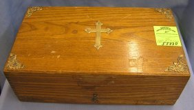 Early Hardwood Religious Storage Box