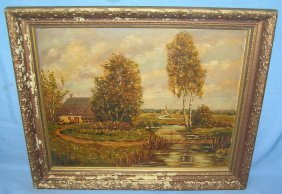 Artist Signed Landscape Oil Painting