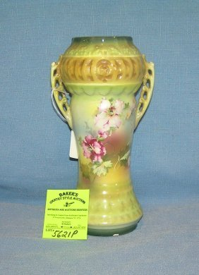 Antique Austrian Hand Painted Floral Decorated Vase