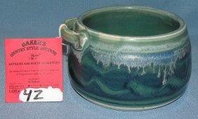 Blue And Green Decorated Earthenware Handled Bowl