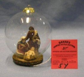 Nativity Scene In Glass Globe