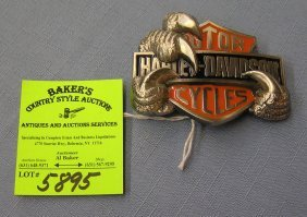 Vintage Harley Davidson Motor Cycle Belt Buckle