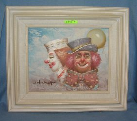 Modern Artist Signed Clown Painting