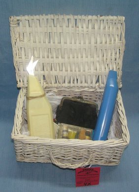Vintage Sewing Basket With Accessories