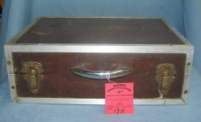 Antique Wood And Metal Trimmed Storage Box