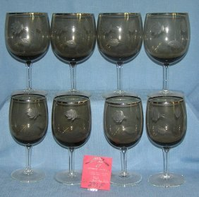 Group Of Vintage Smoked Glass Stemware