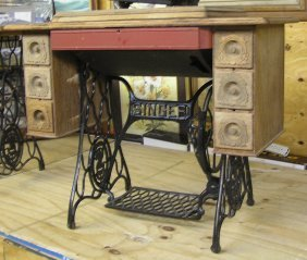 Antique Oak Singer Sewing Machine Cabinet