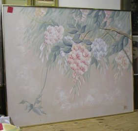 Large Oil On Canvas Floral Painting
