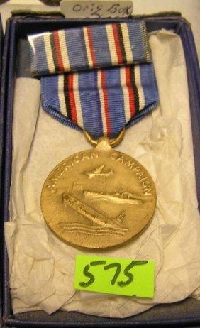 Wwii Amer. Campaign Medal, Ribbon & Bar Set