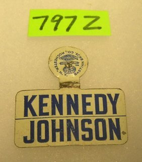 Vintage Kennedy/johnson Tin Campaign Badge