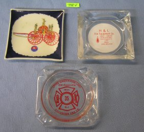 Fire Dept Supply Company Advertising Ashtrays