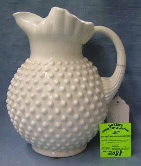 Vintage Fenton Milk Glass Hobnailed Patterned Pitcher