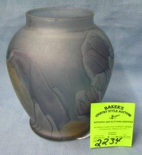 Larger Hand Painted Nouveau Art Glass Vase