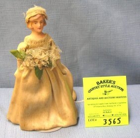 Antique Hand Painted Composition Bride Doll