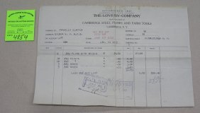Antique Invoice Cambridge Steel Plow And Farm Tool