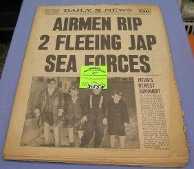 Vintage Wwii Era Newspaper Dated 1944