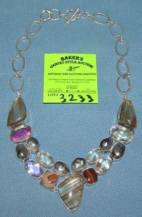 Sterling Silver Necklace W/ Semi Precious Stones