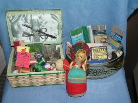 2 Sewing Baskets Full Of Sewing Collectibles