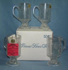 French Crystal Mug Set With Original Box