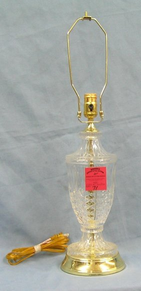 Modern Crystal And Brass Table Lamp