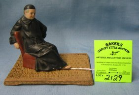 Japanese Wise Man Figurine On Wood And Straw Base