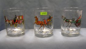 Antique Horse Drawn Carriage Drink Glasses