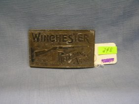 Brass Winchester Advertising Belt Buckle