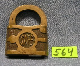 Antique Brass Pad Lock Named Safe