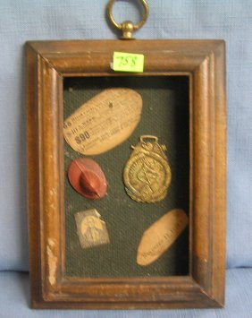 Vintage Fireman Framed Diorama With Watch Fob