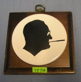 Early Fdr Silhouette Wall Plaque