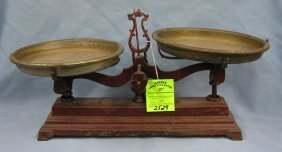 Antique Cast Iron Scale With Dual Brass Bins