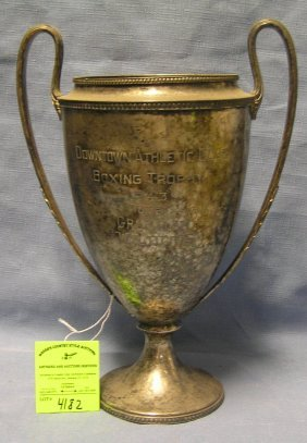 Antique Silver Plated Boxing Team Trophy